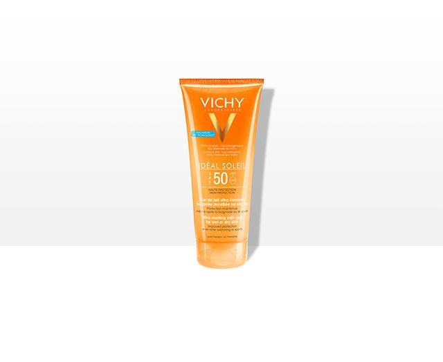 Gel de lait ultra-fondant sur peau mouillée ou sèche SPF50