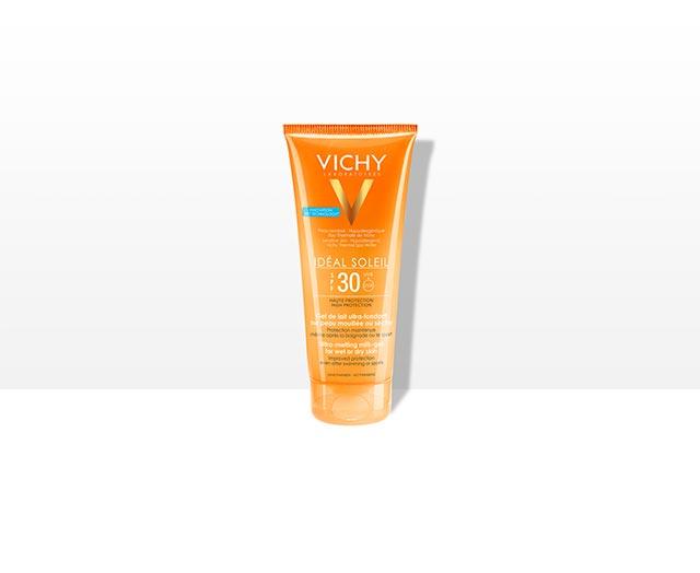 Gel de lait ultra-fondant sur peau mouillée ou sèche SPF30